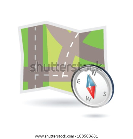 Illustration of road map and compass may be used as icon map systems - stock vector