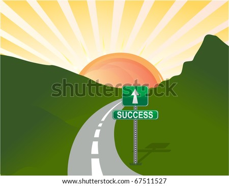 Illustration of road to success. Vector