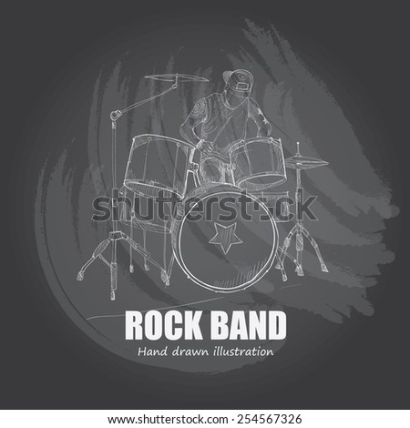 illustration of rock band drum
