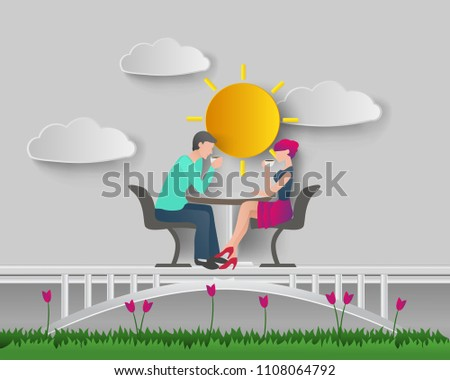 illustration of romantic couple enjoy drink coffee in the summer gardens. vector art paper style