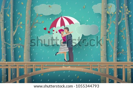 Illustration of Romantic couple hugging over bridges and rainy forest. vector paper art and digital handicraft style.