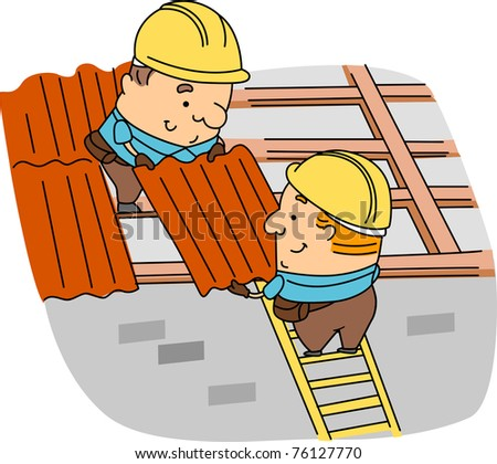 Illustration of Roofers at Work