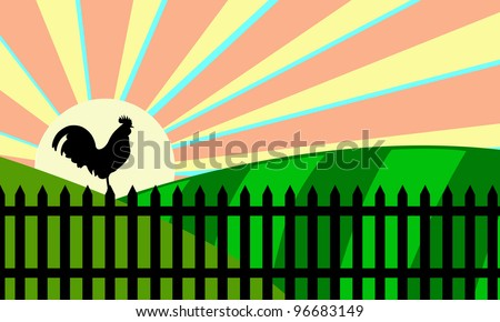 illustration of rooster on a fence at sunrise