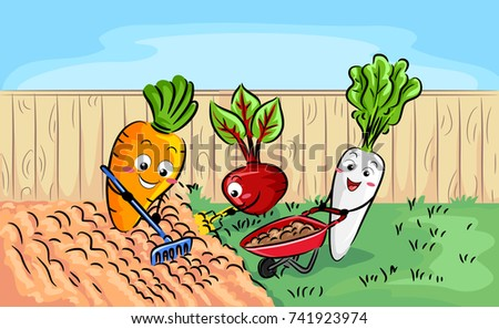 Illustration of Root Crops, a Carrot, Beet and Radish Preparing Soil in the Garden