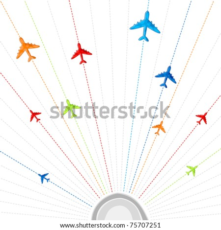 illustration of route showing flying of airplane in different destination