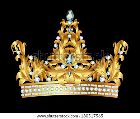 illustration of royal gold crown with jewels