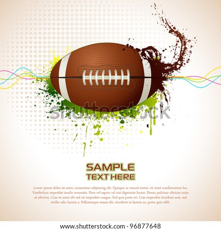 illustration of rugby ball on abstract grungy background