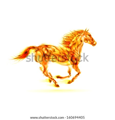 Illustration of running fire horse on white background.