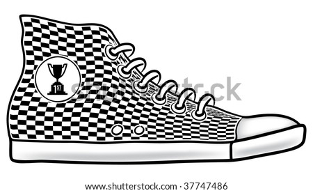 Illustration of running shoe with checkered pattern and first place cup race trophy icon
