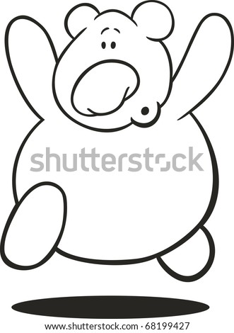 Illustration Of Running Teddy Bear For Coloring Book