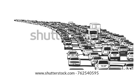 Illustration of rush hour traffic jam on freeway in black and white