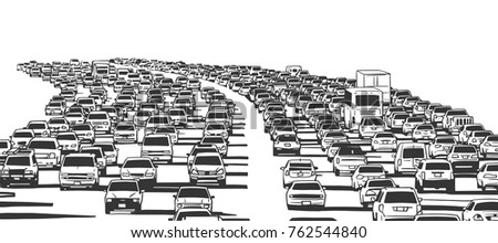 Illustration of rush hour traffic jam on freeway in black and white stock photo