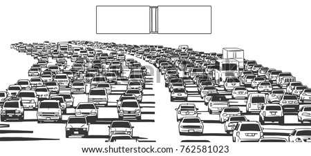Illustration of rush hour traffic jam on freeway with blank signs in black and white