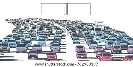 Illustration of rush hour traffic on blocked highway in color with blank sign posts stock photo