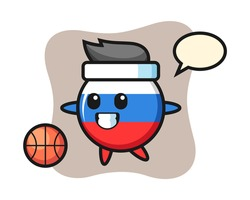 Illustration of russia flag badge cartoon is playing basketball, cute style design for t shirt, sticker, logo element