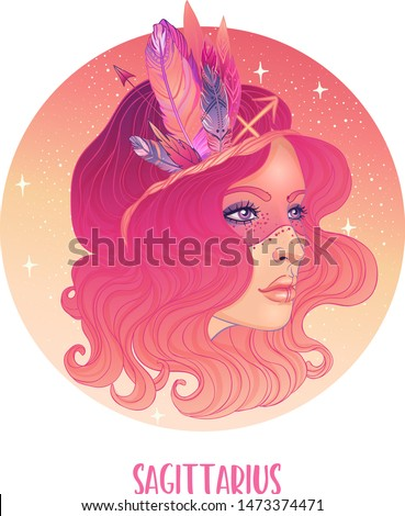 Illustration of Sagittarius astrological sign as a beautiful girl. Zodiac vector illustration isolated on white. Future telling, horoscope, alchemy, spirituality, occultism, fashion woman.