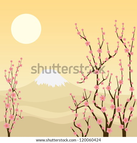 Illustration of sakura branches with mountain on the background.