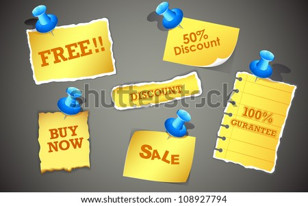 illustration of sale and discount offer in paper chit
