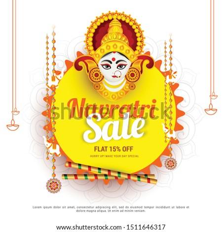 Illustration Of Sale Poster Or Sale Banner For Indian Festival Navratri Celebration,Big Navratri sale offer background. Stock photo ©