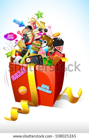 illustration of sale product popping out of gift box
