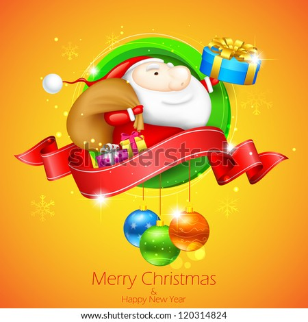 illustration of Santa Claus with Christmas gift