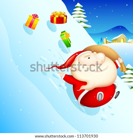 illustration of Santa sliding in snow with Christmas gift