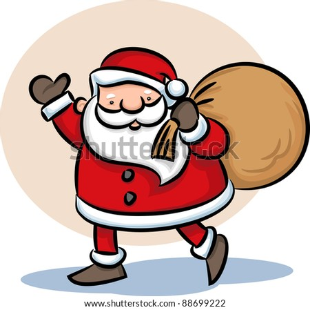 Illustration of Santa walking with bag