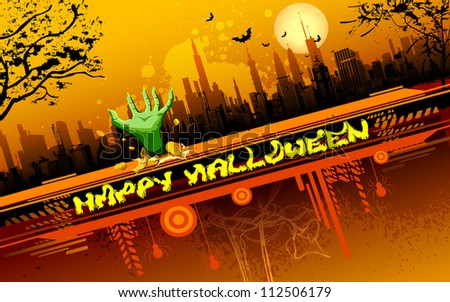 illustration of scary halloween night in cityscape