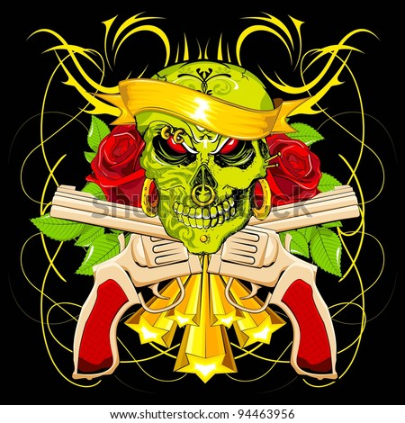 illustration of scary skull with rose and gun on abstract background