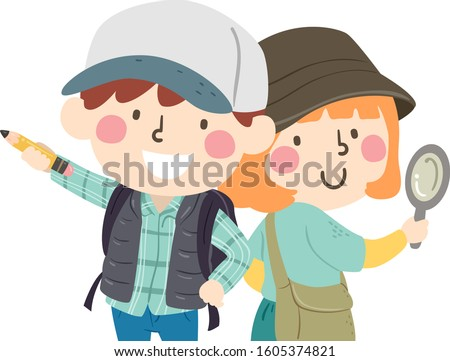 Illustration of Scavenger Hunt Partners, the Kid Boy Holding a Pencil and the Kid Girl Holding a Magnifying Glass Stock photo ©