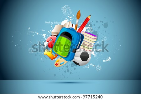illustration of school bag,book,pencil and soccer ball on abstract background