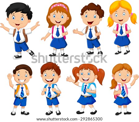 illustration of school children