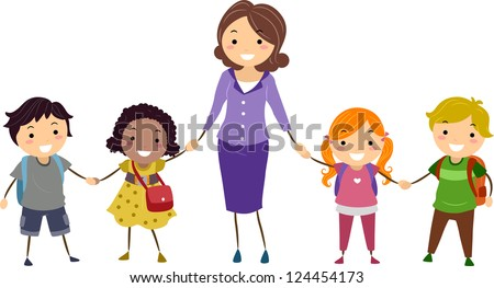 Illustration of School Kids and Their Teacher Holding Hands