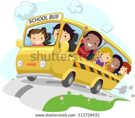 Illustration of School Kids Riding a Schoolbus