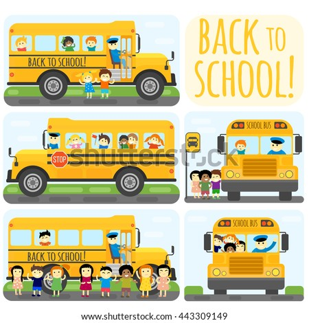 Illustration of school kids riding yelliw schoolbus transportation education