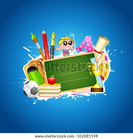 illustration of school stationery in education background