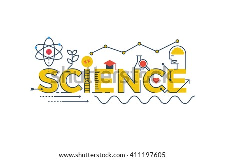 illustration of science word in