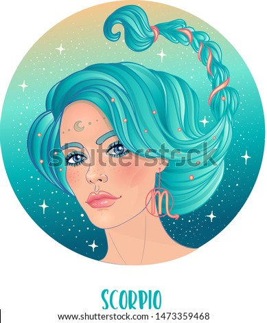 Illustration of Scorpio astrological sign as a beautiful girl. Zodiac vector illustration isolated on white. Future telling, horoscope, alchemy, spirituality, occultism, fashion woman.
