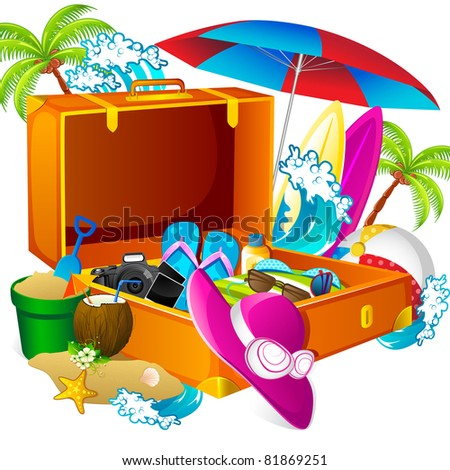 illustration of sea beach thing in suitcase to travel