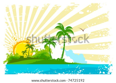 illustration of sea beach view with palm tree and sun