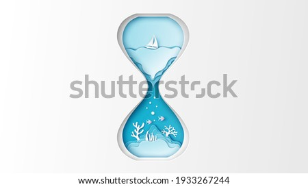 Illustration of sea landscape inside the hourglass. Hourglass design for sea in Summer. Sea inside hourglass. paper cut and craft style. vector, illustration.
