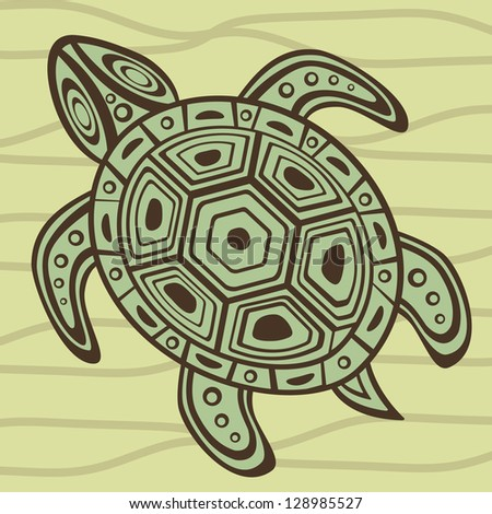 Illustration of sea turtle swimming