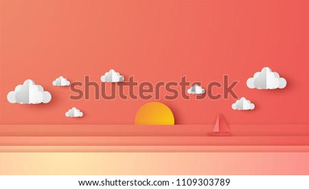 Illustration of sea view and sunset in the evening with a floating sailing boat in the sea. Beautiful sunset seascape. paper cut and craft style. vector, illustration.