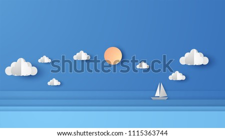 Illustration of sea view with a floating sailing boat in the sea. Sea view on clear sky. paper cut and craft style. vector, illustration.