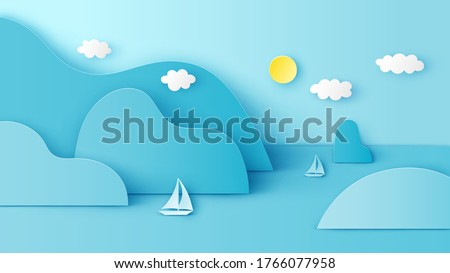 Illustration of sea view with sailboat floating around an island in the sea. Sea view on clear sky. paper cut and craft style. vector, illustration.