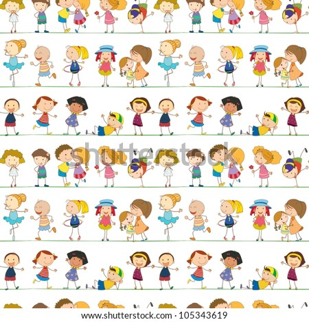Illustration of seamless children pattern