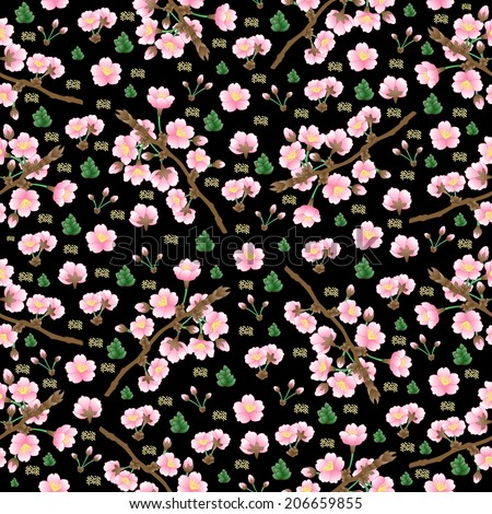 Illustration of seamless  floral pattern with apple tree branches and flowers on black background
