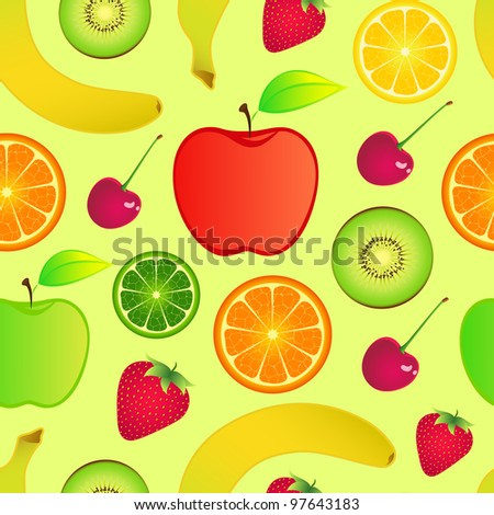 Illustration of seamless fruits background