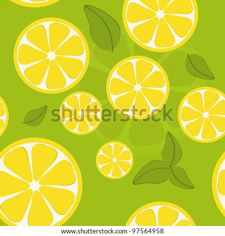 Illustration of seamless lemon background