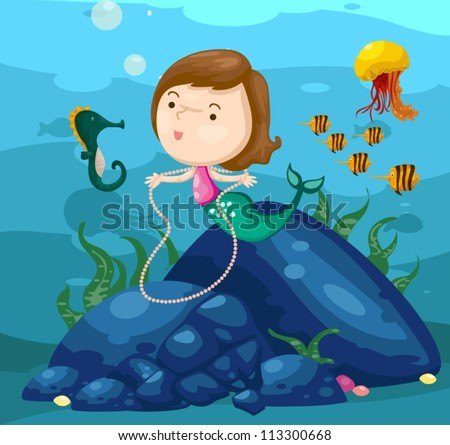illustration of seascape cute
